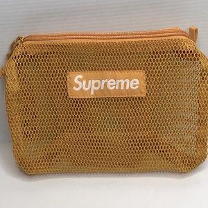 Supreme Gold Mesh Zippered Bag Pouch Wristlet NWT